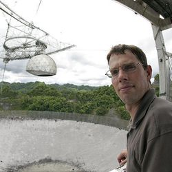 Prof. Karl Warnick helped lead the BYU team that installed a special new antenna in the dome that dangles 100 feet above the world's largest radio telescope in Arecibo, Puerto Rico.