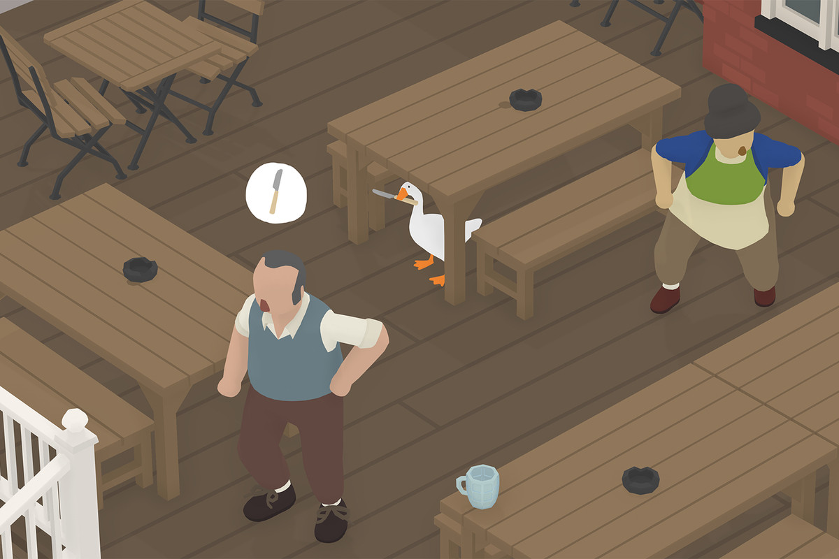 The goose from Untitled Goose Game at the pub
