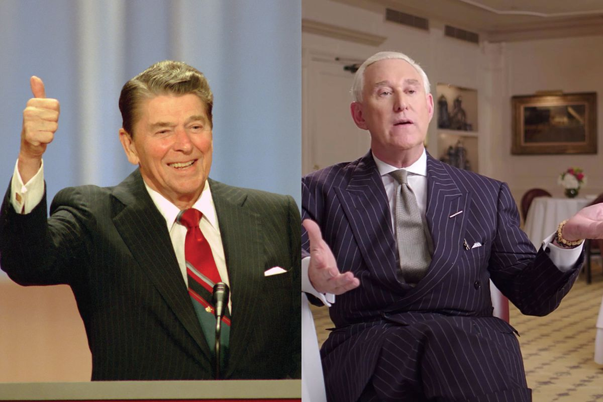 Stills from The Reagan Show and Get Me Roger Stone, both of which played at the Tribeca Film Festival in April 2017.