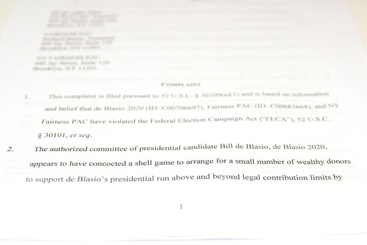 Bill de Blasio Campaign Lawsuit