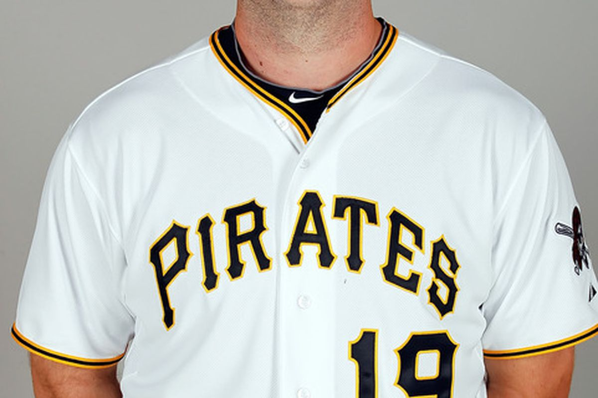 BRADENTON FL - FEBRUARY 20:  Catcher Chris Snyder #19 of the Pittsburgh Pirates poses for a photo during photo day at Pirate City on February 20 2011 in Bradenton Florida.  (Photo by J. Meric/Getty Images)
