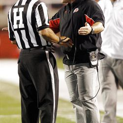 Utah Utes head coach Kyle Whittingham argues with the ref in Salt Lake City  Saturday, Sept. 15, 2012.