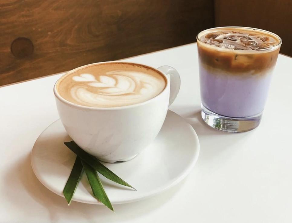 Pandan and ube lattes at Hood Famous Cafe and Bar.