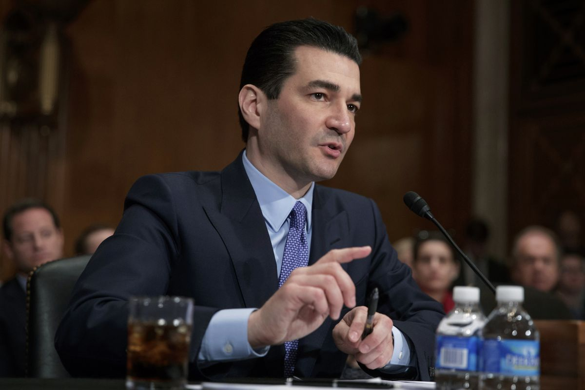Dr. Scott Gottlieb speaks during his confirmation hearing before a Senate committee, in Washington.