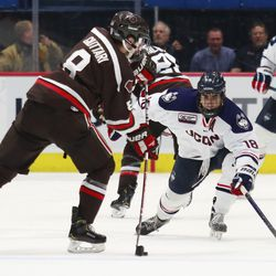 The Brown Bears take on the UConn Huskies in a men's college hockey game at the XL Center in Hartford, CT on November 13, 2018.