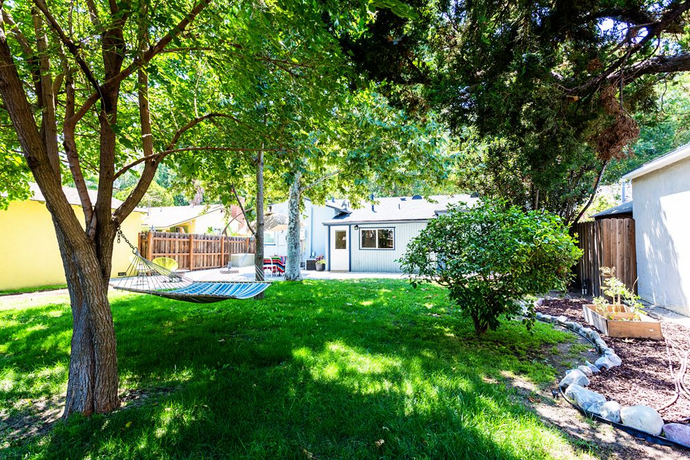 Backyard with hammock and patio