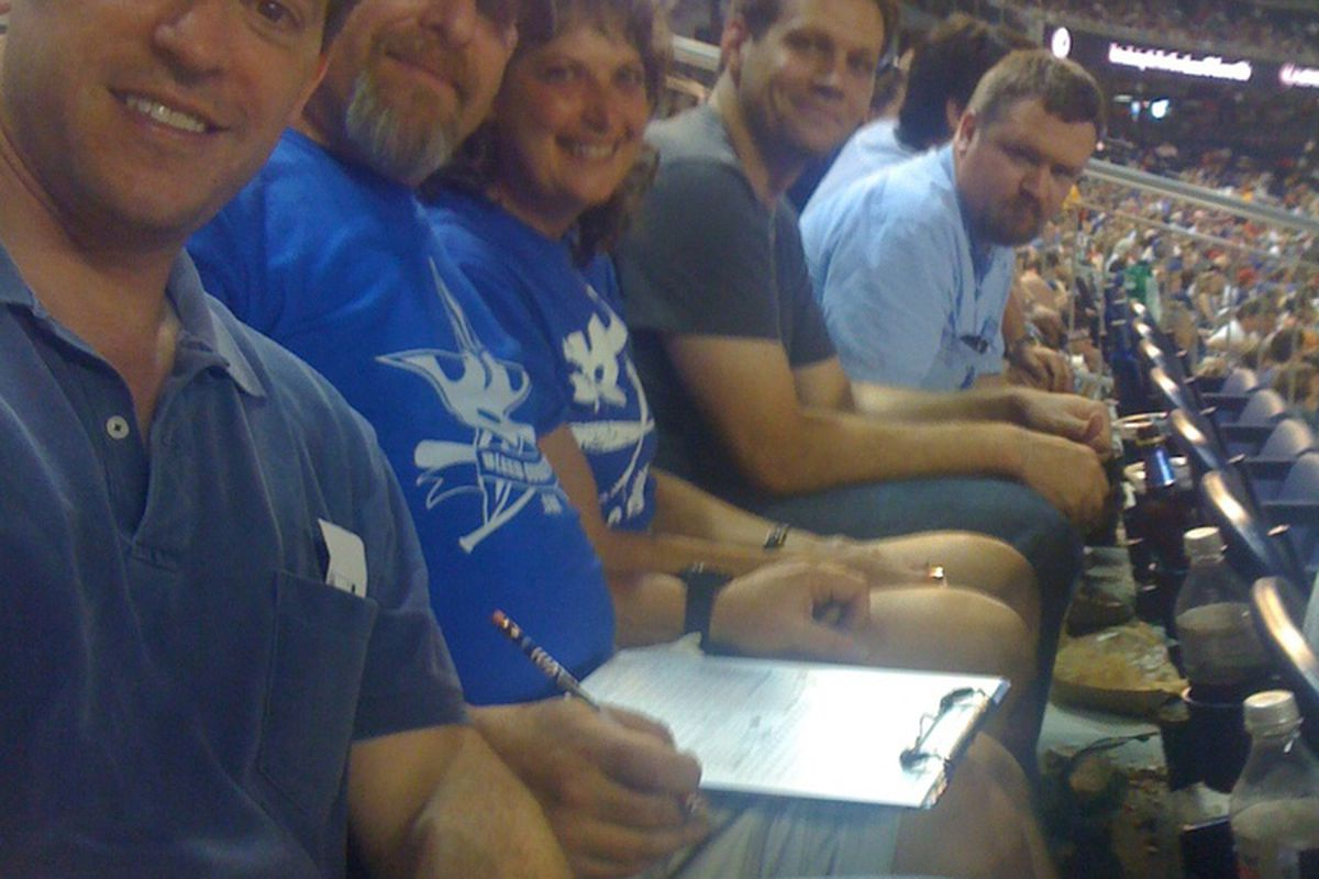From left: Jim, Al, Miriam, Dusty and Trei enjoying a night a Nationals Park.