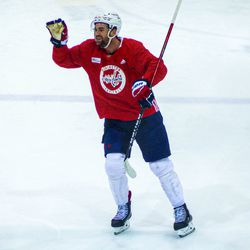 Tom Wilson celebrates a goal at Capitals morning skate.