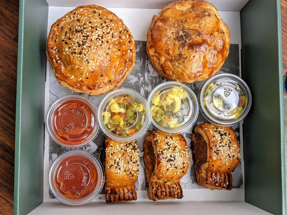 Meat pies and sausage rolls at Pie Room by Gwen in Beverly Hills
