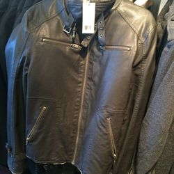 Faux-leather and shearling coat, size S, $50 (was $298)