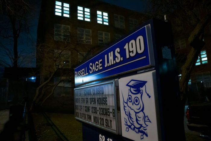 The residentially zoned Russell Sage Junior High School on Austin Street in Forest Hills would be impacted by changes.Photo: Ben Fractenberg/THE CITY