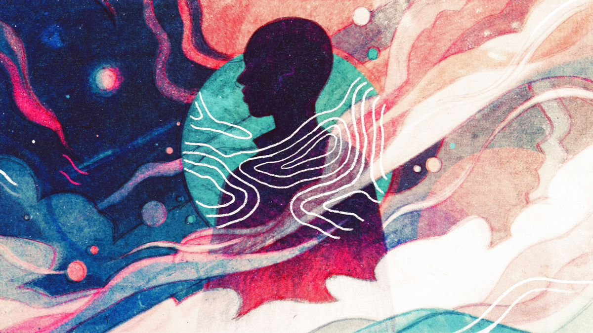 Art depicting a human silhouette surrounded by colors and waves.