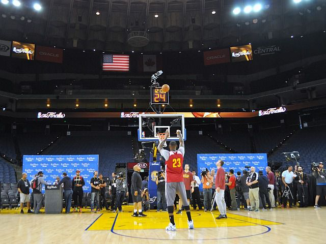 James works out in front of the media at Oracle Arena between the first and second games of the NBA Finals.