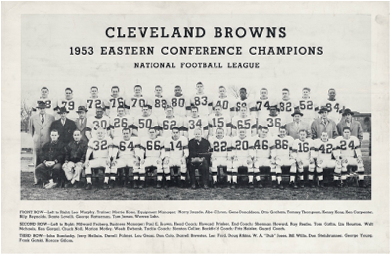 Sherman Howard, in the second row, fourth from left, during his days with the Cleveland Browns.