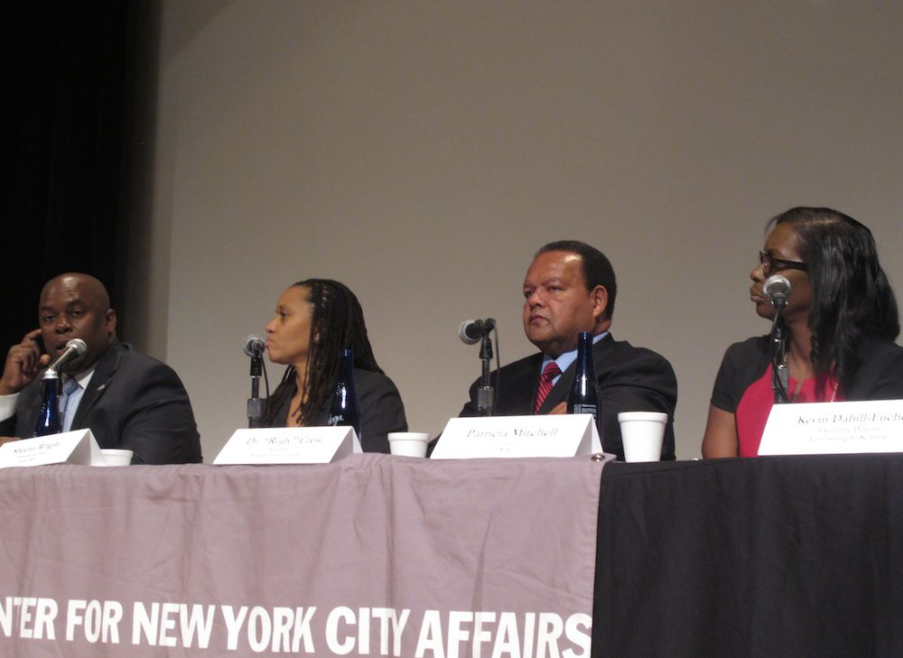 Former schools Chancellor Rudy Crew, second from right, expressed doubts about his old school-turnaround program during a recent panel discussion.