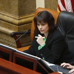 House Speaker, Becky Lockhart, R-Provo,  on Capitol Hill Tuesday, Jan. 29, 2013, in Salt Lake City.