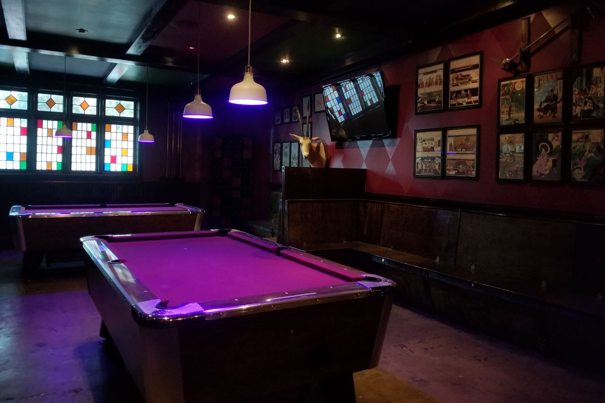 Inside Other Door in North Hollywood with purple lit pool table.
