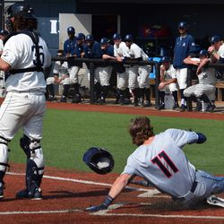 The UConn Huskies take on the Rhode Island Rams in a college baseball game at Bill Beck Field in Kingston, RI on May 15, 2018.