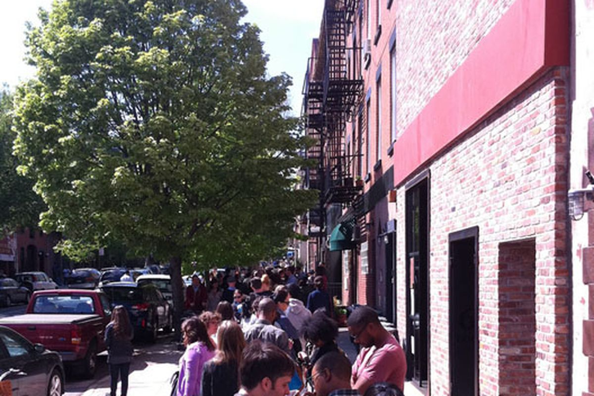 """The line outside this weekend's A.P.C. sale via <a href=""""http://www.flickr.com/photos/62353024@N06/5672848251/in/pool-312691@N20/"""">nineteen70nein</a>/Racked Flickr Pool"""