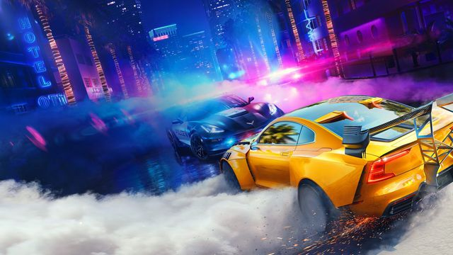 Need for Speed Heat artwork with a yellow sports car facing off against a Corvette police car at night on rainy streets