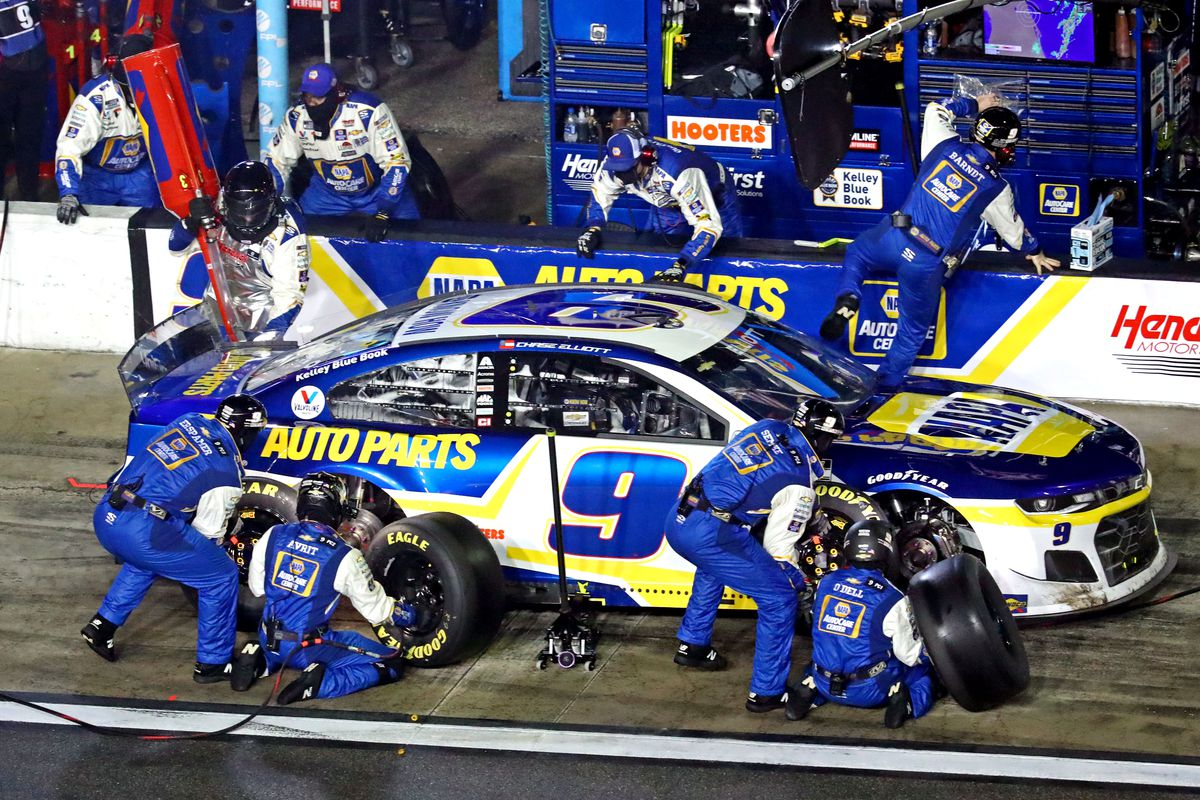 NASCAR Cup Series driver Chase Elliott makes a pit stop during the Daytona 500 at Daytona International Speedway.