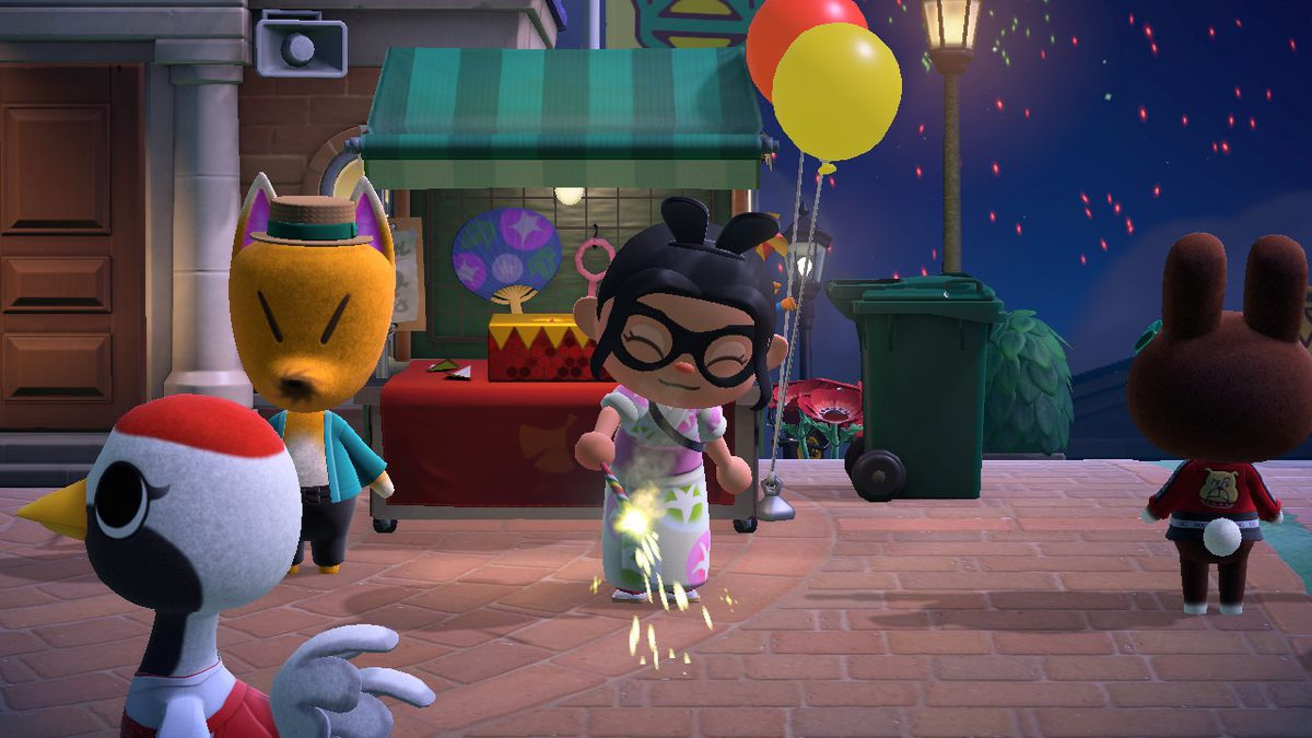 An Animal Crossing character uses a Red Sparkler, which shoots yellow sparks