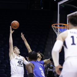 BYU's Colby Lee (40) hit a shot during the Cougars' 86-61 win over the New Orleans Privateers at Provo's Marriott Center on Thursday November 26, 2020.