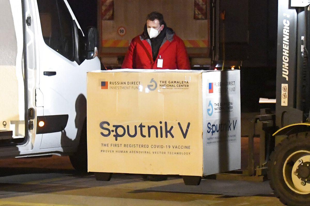 Russia's Sputnik V coronavirus vaccine arrives at Kosice Airport, in Slovakia.