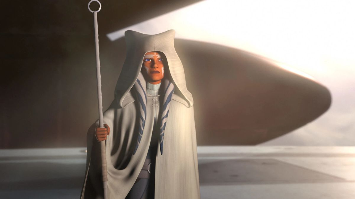 Ahsoka Tano in a white robe, holding a white staff, in Star Wars Rebels