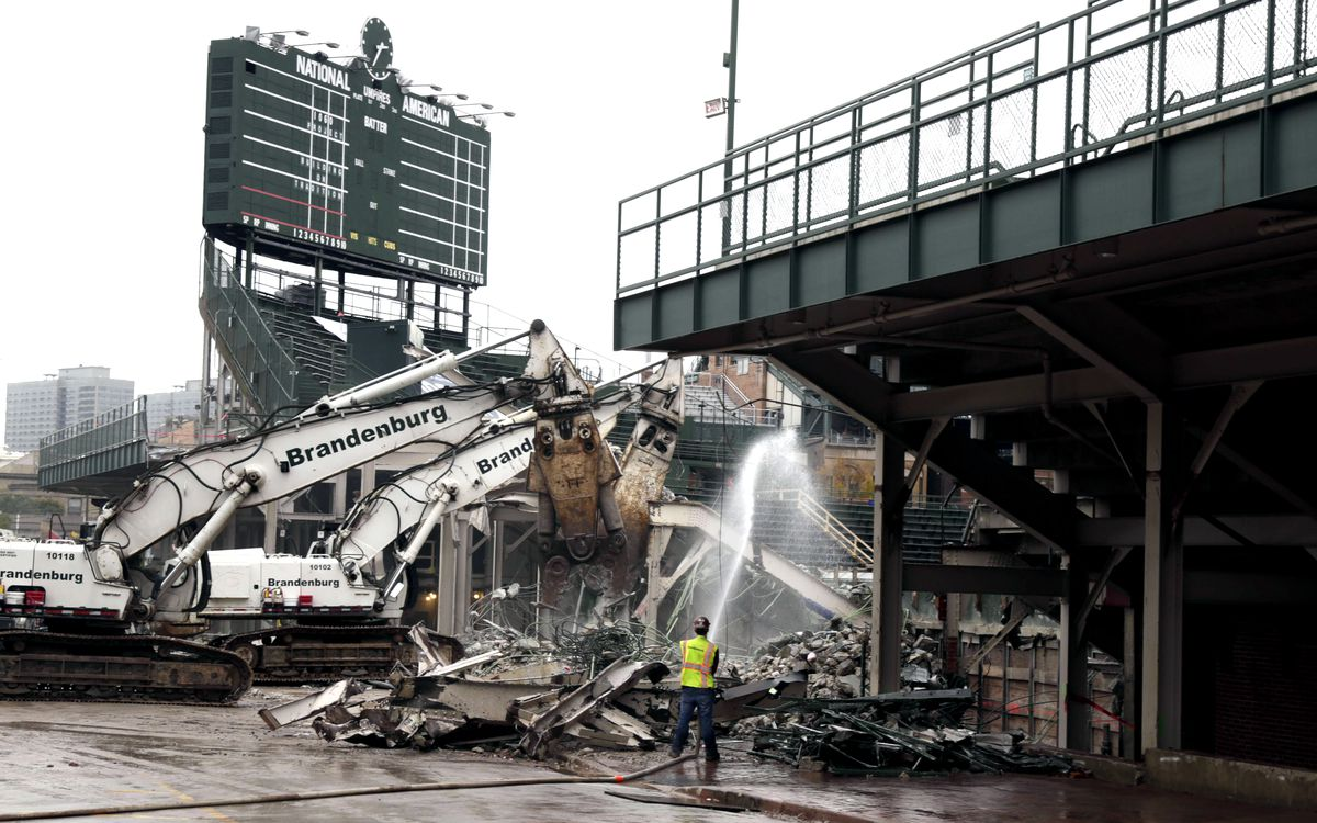 The demolition of Wrigley Field's bleachers started in October 2014. The new, expanded bleachers opened in 2015, part of the Chicago Cubs' privately funded $575 million renovation project.