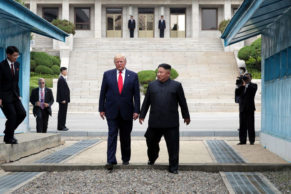 Image result for trump met Kim at border