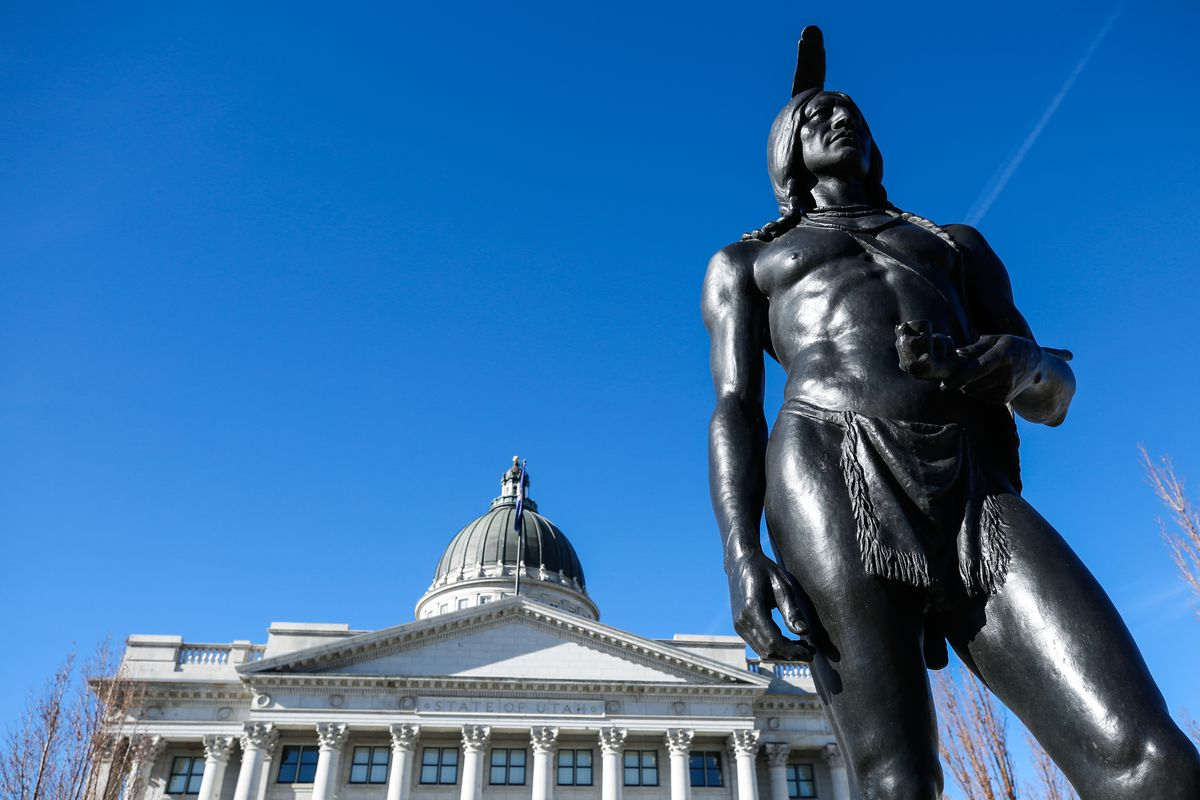 A statue of Chief Massasoit at Utah Capitol in Salt Lake City is pictured on Monday, Nov. 16, 2020.