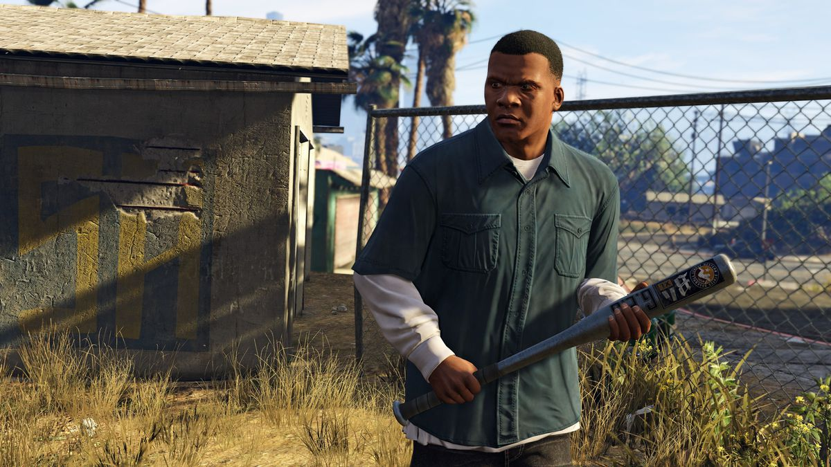 Franklin looks angry and is holding a baseball bat in Grand Theft Auto 5