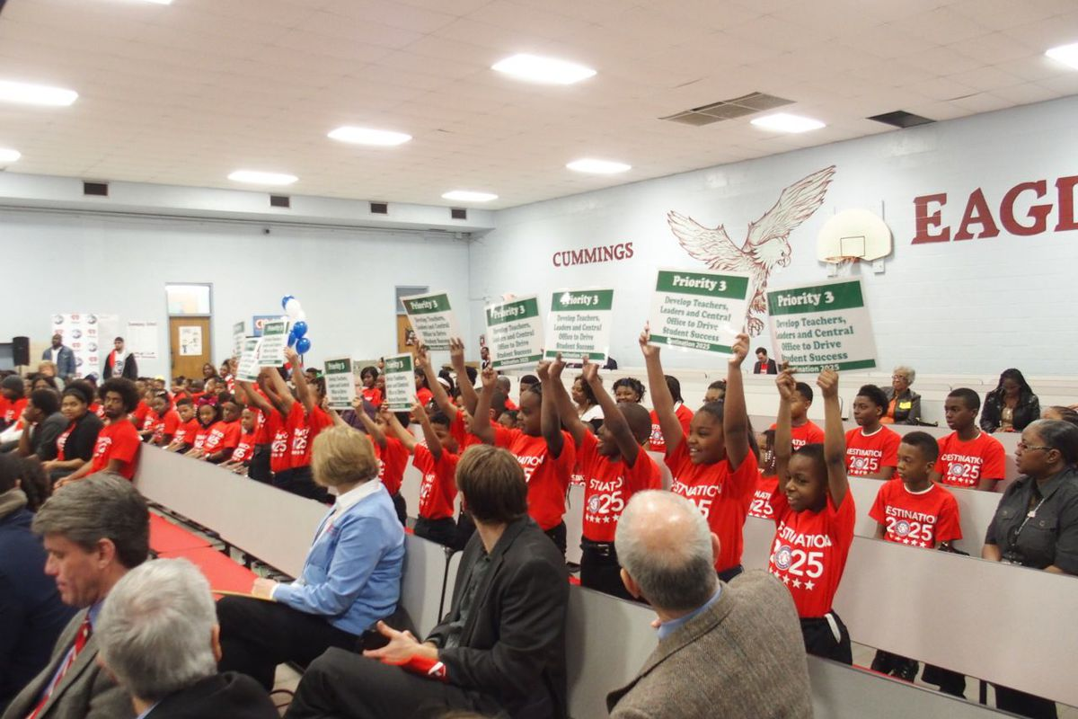 Students at Cummings Elementary School in Memphis participate in a rally to build community support for Superintendent Dorsey Hopson's 10-year vision plan for Shelby County Schools. Cummings was one of eight Tennessee schools honored April 10 by the state Board of Education.