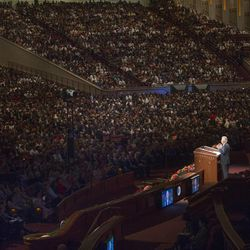 President Dieter F. Uchtdorf speaks during the Saturday morning session of the 183rd Semiannual General Conference for the Church of Jesus Christ of Latter-day Saints Saturday, Oct. 5, 2013 inside the Conference Center.