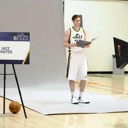 The Jazz's Gordon Hayward gets his photo taken during media day at the Zions Bank Basketball Center on Monday, September 30, 2013.