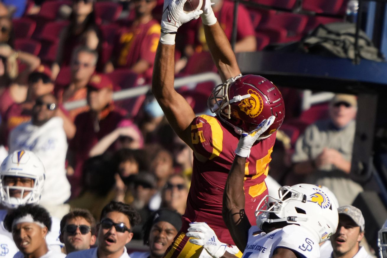 USC Trojans defeated the San Jose State Spartans 30-7 during a NCAA football game at the Los Angeles Memorial Coliseum in Los Angeles,