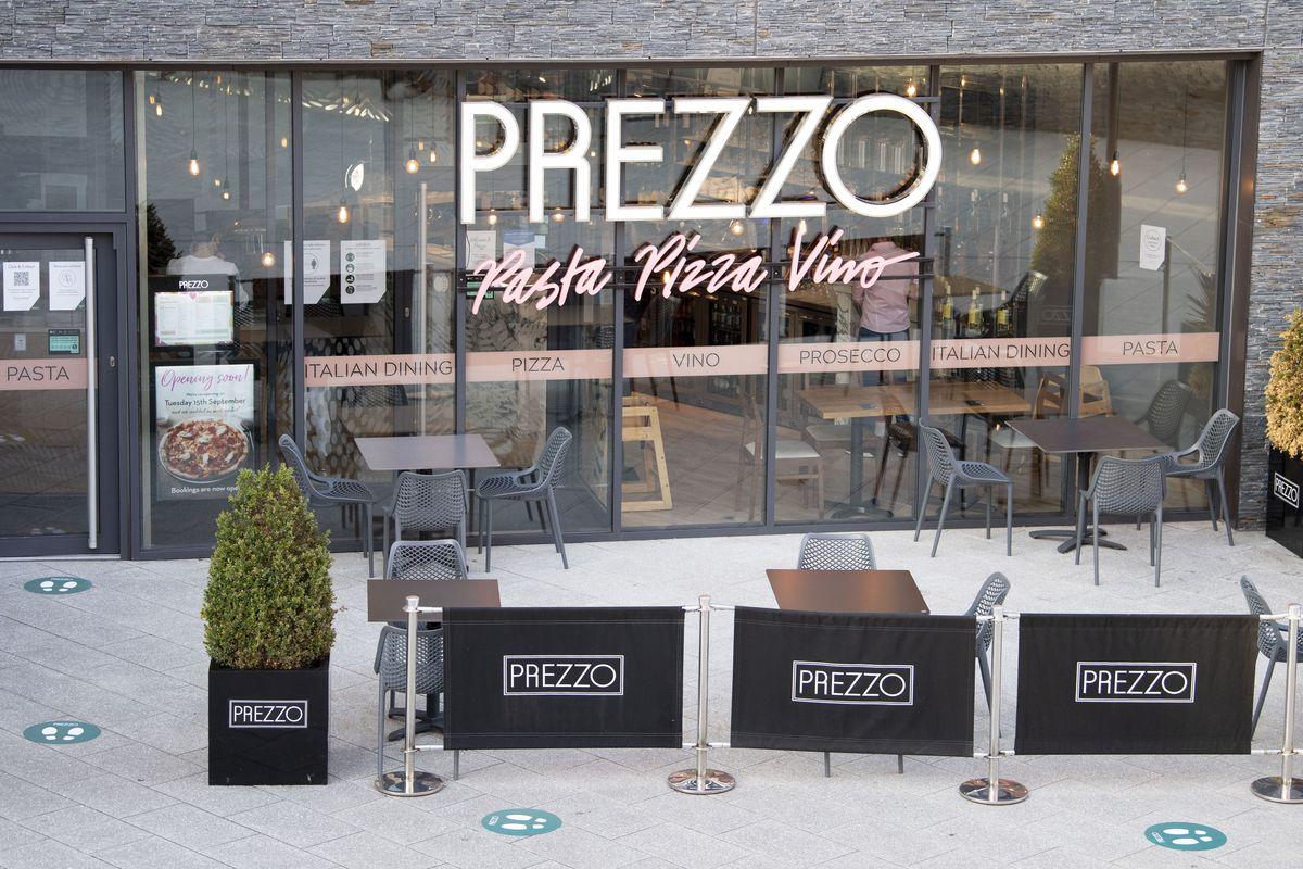 The exterior of a Prezzo restaurant in the U.K.