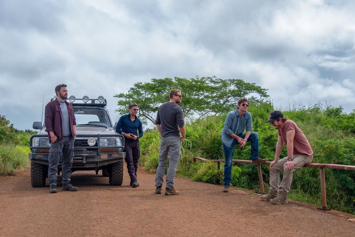 Affleck, Oscar Isaac, Charlie Hunnam, Garrett Hedlund, and Pedro Pascal at a break in the road.