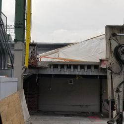 The area in between the lower deck in LF and the bleachers