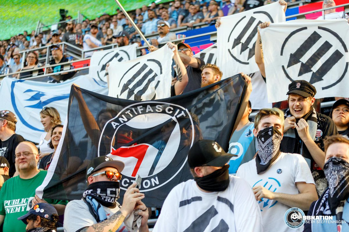 September 15, 2019 - Saint Paul, Minnesota, United States - Iron Front and Antifa banners are on display in the Wonderwall during the Minnesota United vs Real Salt Lake match at Allianz Field.