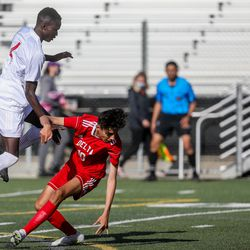 The Judge Memorial Bulldogs face off against the Delta Rabbits in a 3A semifinal game of soccer at Juan Diego Catholic High School in Draper on Monday, May 17, 2021.