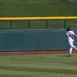Fowler goes back on a fly ball -