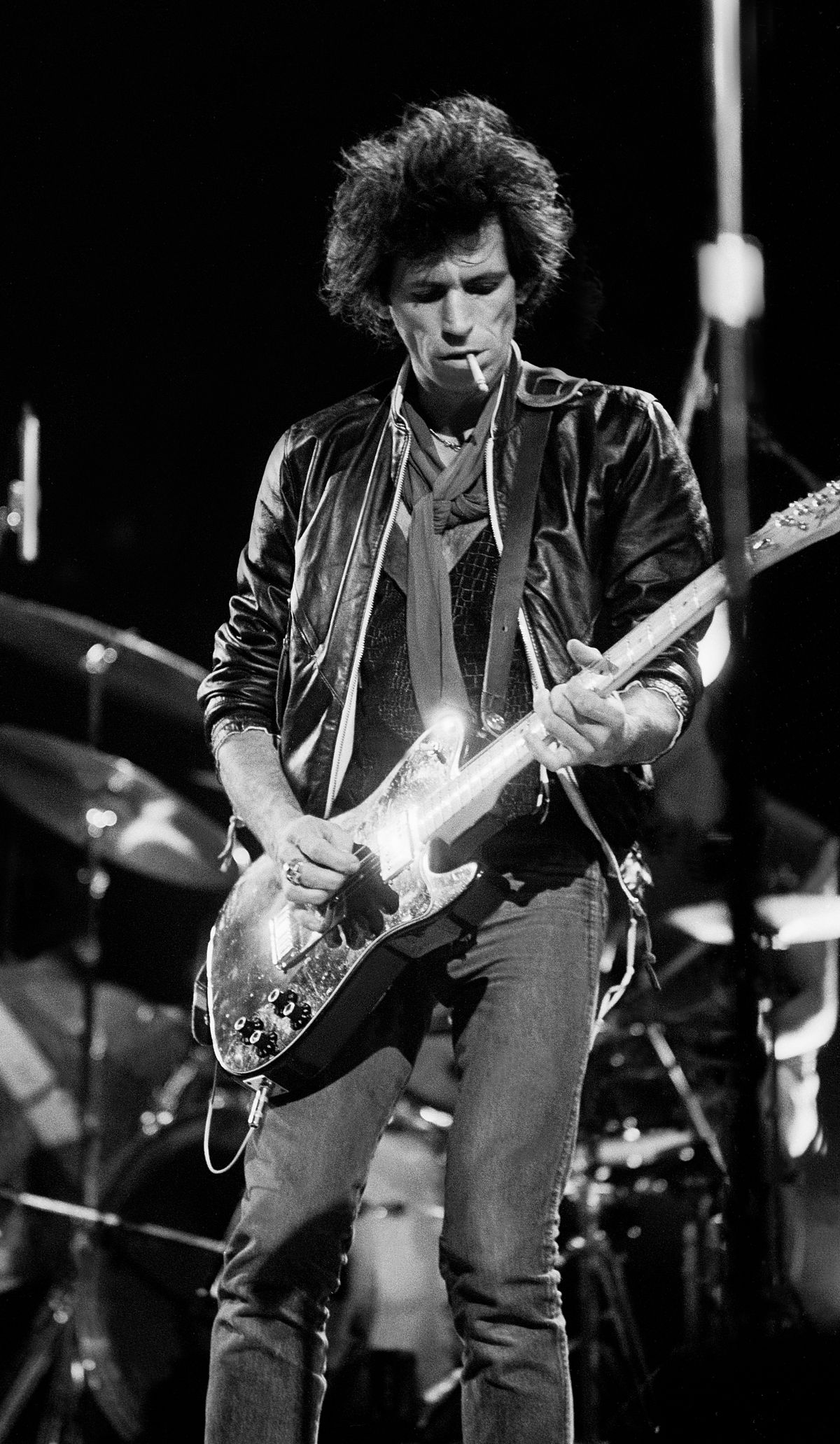 Keith Richards and The Rolling Stones on their North American tour in 1981, photographed in Rockford, Ill. | Photo by Paul Natkin