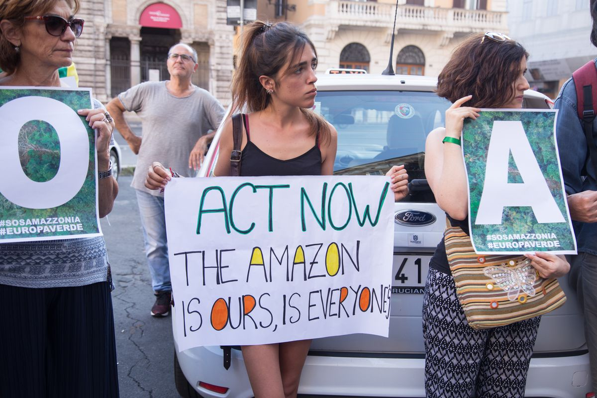 Demonstration near the Brazilian Embassy in Rome to defend the Amazon forest burning in Brazil.