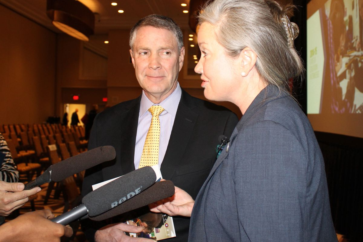 Former U.S. Sen. Bill Frist and SCORE President and CEO Jamie Woodson speak with reporters following the release of SCORE's annual State of Education in Tennessee report.