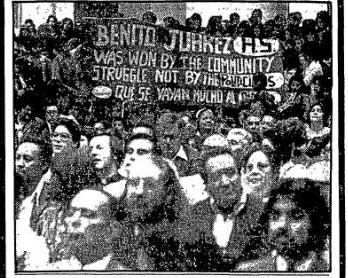 Crowd celebrating opening of Benito Juarez High School on Sept. 16, 1977.