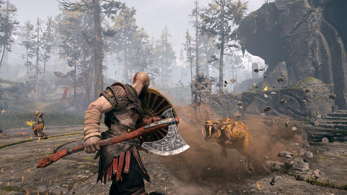 God of War - Kratos fighting a tatzelwurm