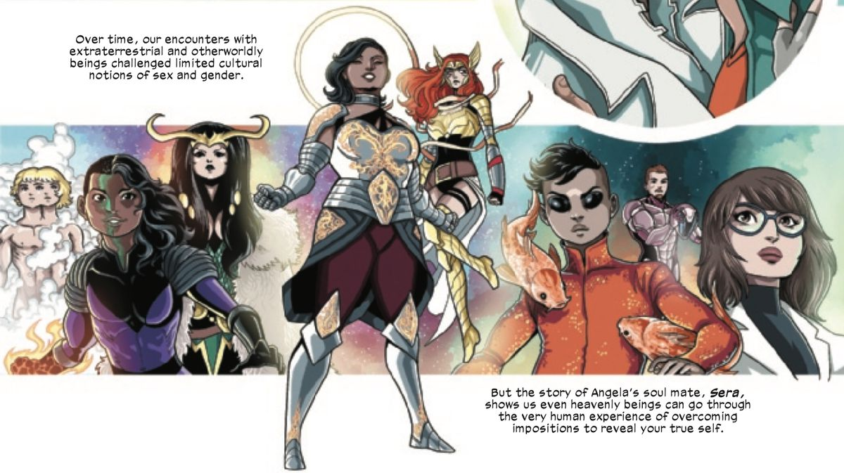 A collage image of queer, but mostly genderqueer Marvel characters, including Xavin, Lady Loki, Sera, Angela, Koi Boi, and Dr. McGowan in Marvel Voices: Pride #1 (2021).