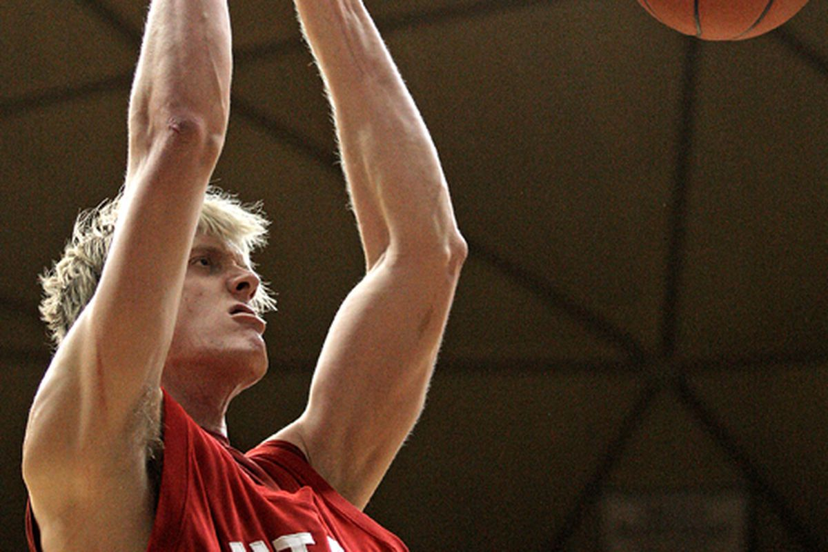 """<a href=""""http://www.benwphoto.com/wp-content/uploads/2009/02/020809_cowboys_utah_mbball_02_bjw.jpg"""">Luke Nevill</a> is showing some signs of life, and not just being tall."""